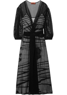 Missoni Woman Belted Open-knit Midi Dress Black