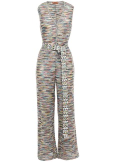 Missoni Woman Belted Open-knit Wide-leg Jumpsuit Multicolor