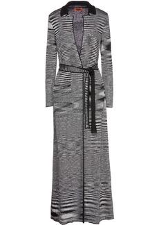 Missoni Woman Belted Sequin-embellished Metallic Crochet-knit Cardigan Black