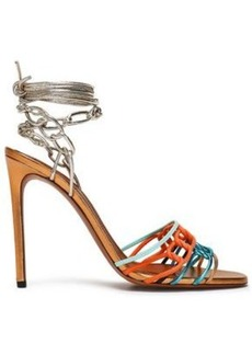 Missoni Woman Braided Metallic Leather And Suede Sandals Copper