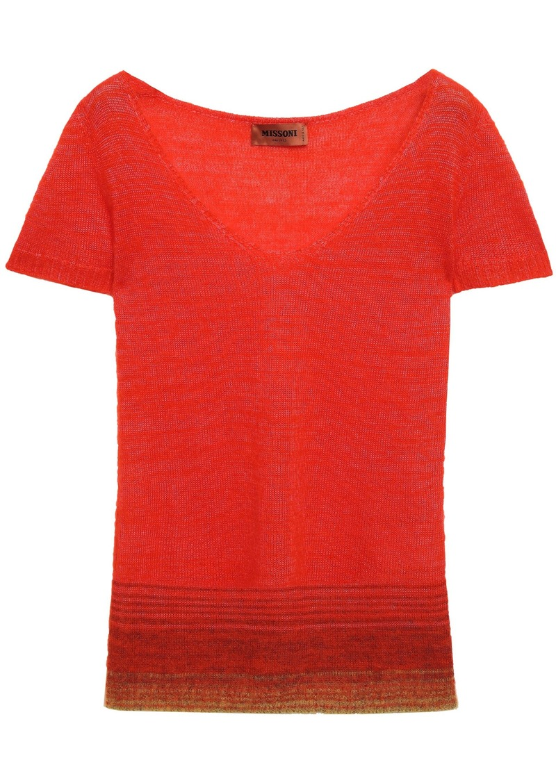 Missoni Woman Brushed Crochet-knit Top Bright Orange
