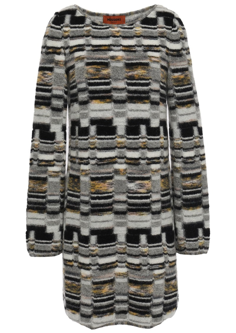 Missoni Woman Brushed Jacquard-knit Mini Dress Gray