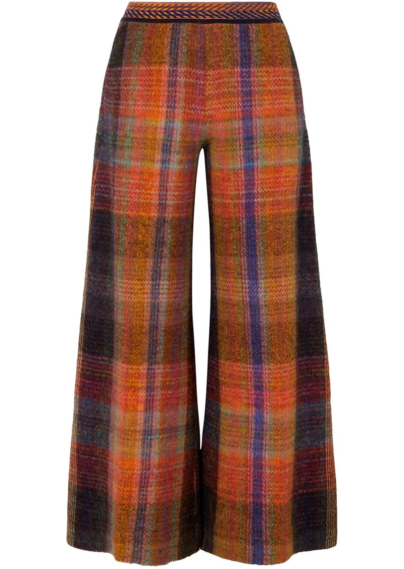 Missoni Woman Checked Crochet-knit Wide-leg Pants Multicolor