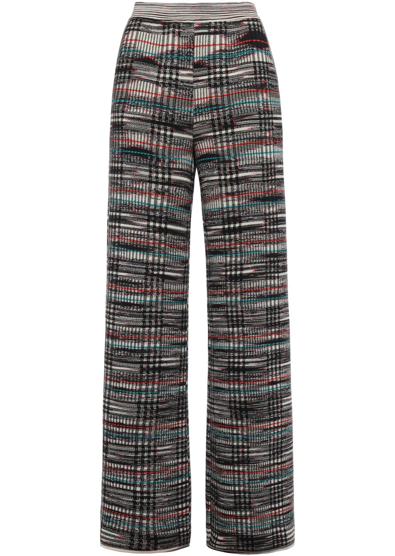 Missoni Woman Checked Crochet-knit Wool Wide-leg Pants Black