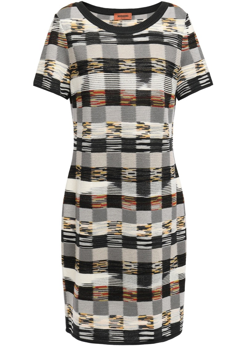 Missoni Woman Checked Intarsia Wool Mini Dress Gray