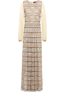 Missoni Woman Paneled Metallic Crochet-knit Maxi Dress Beige