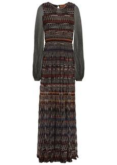 Missoni Woman Paneled Metallic Crochet-knit Maxi Dress Black