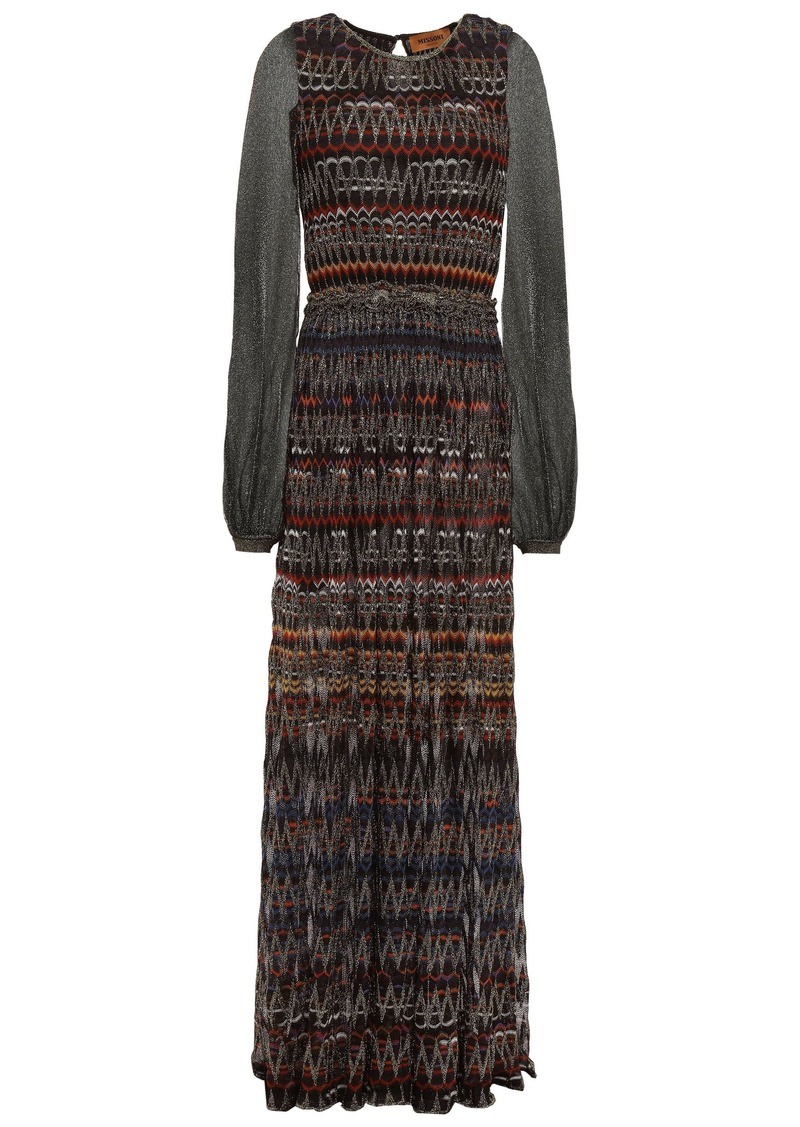 Missoni Woman Paneled Metallic Crochet-knit Maxi Dress Black
