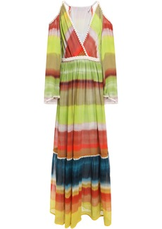 Missoni Woman Cold-shoulder Dégradé Silk-georgette Maxi Dress Lime Green