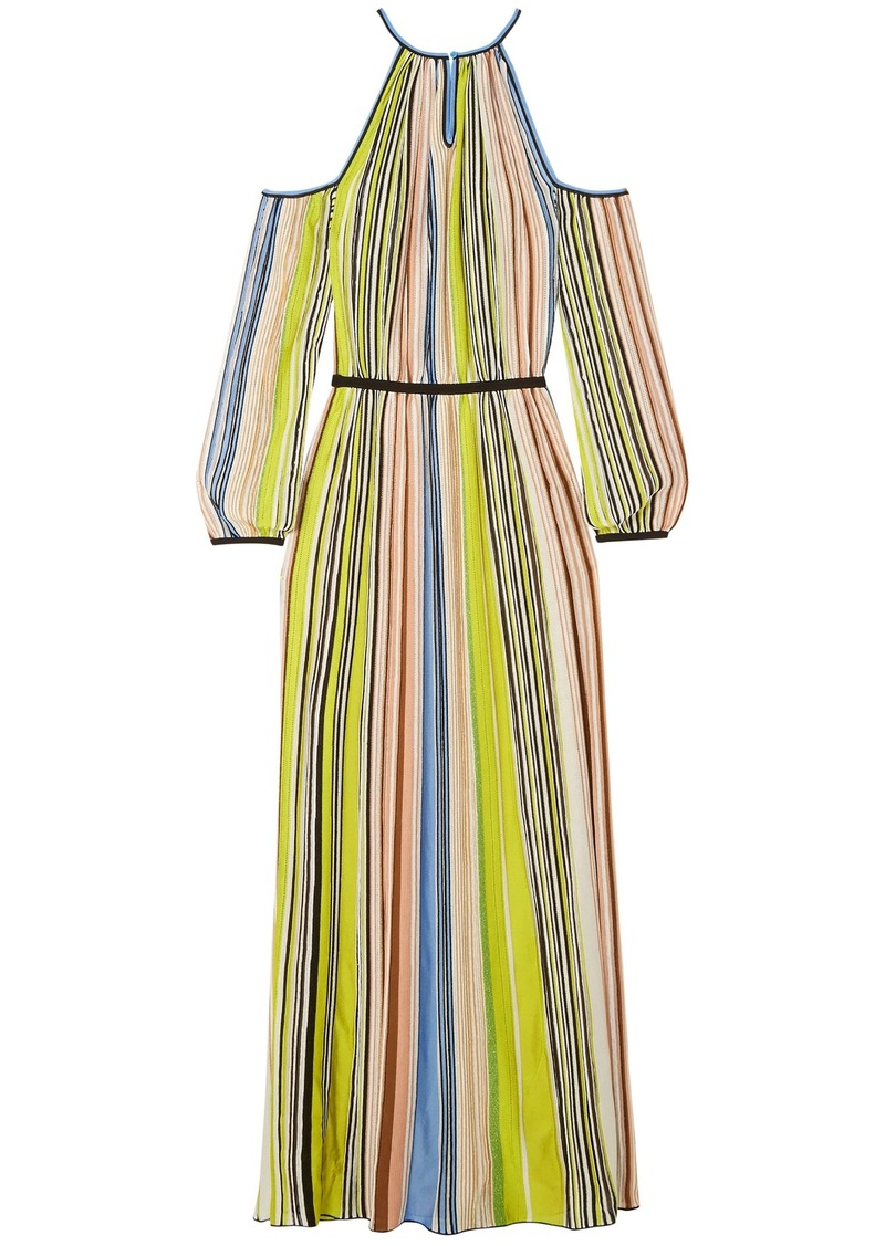 Missoni Woman Cold-shoulder Striped Ribbed-knit Maxi Dress Chartreuse