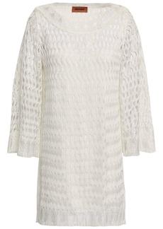 Missoni Woman Color-block Open-knit Mini Dress Ivory