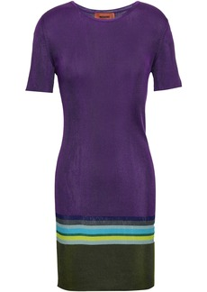 Missoni Woman Color-block Ribbed Silk-blend Mini Dress Purple