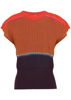 Missoni Woman Color-block Ribbed Wool-blend Top Camel