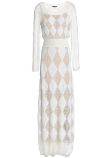 Missoni Woman Crochet And Jacquard-knit Maxi Dress White
