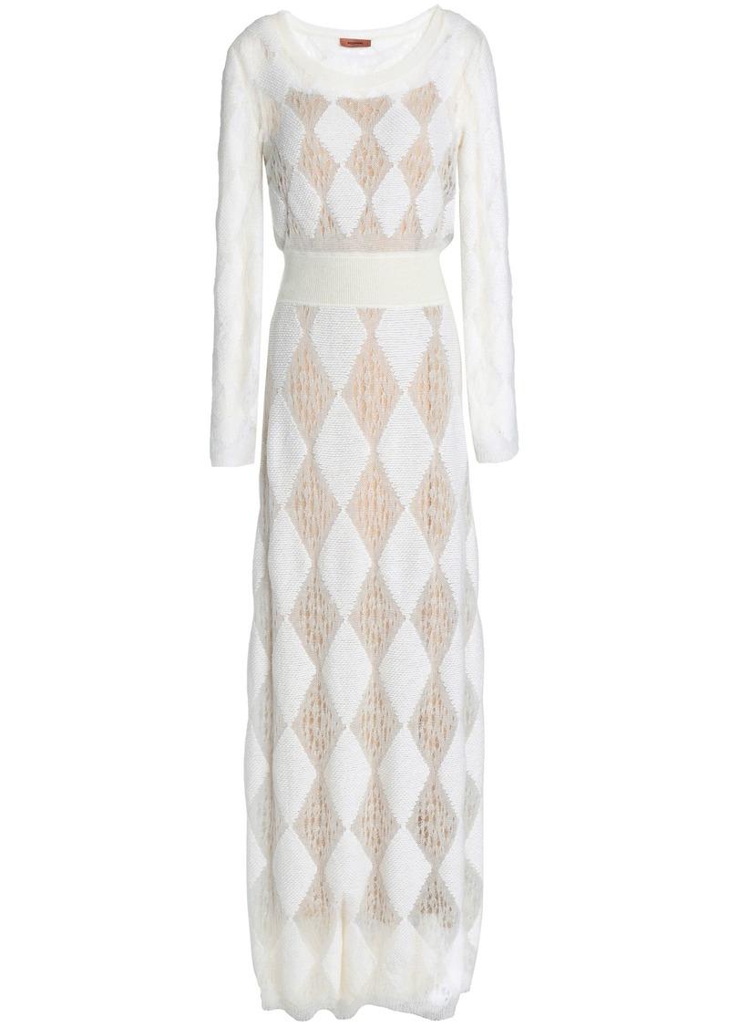 Missoni Woman Crochet And Jacquard-knit Maxi Dress White