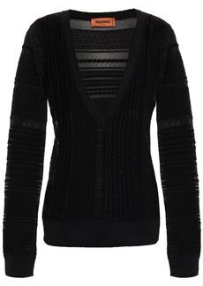 Missoni Woman Crochet-knit Cotton-blend Sweater Black