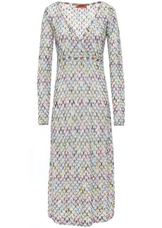 Missoni Woman Wrap-effect Crochet-knit Midi Dress Ecru