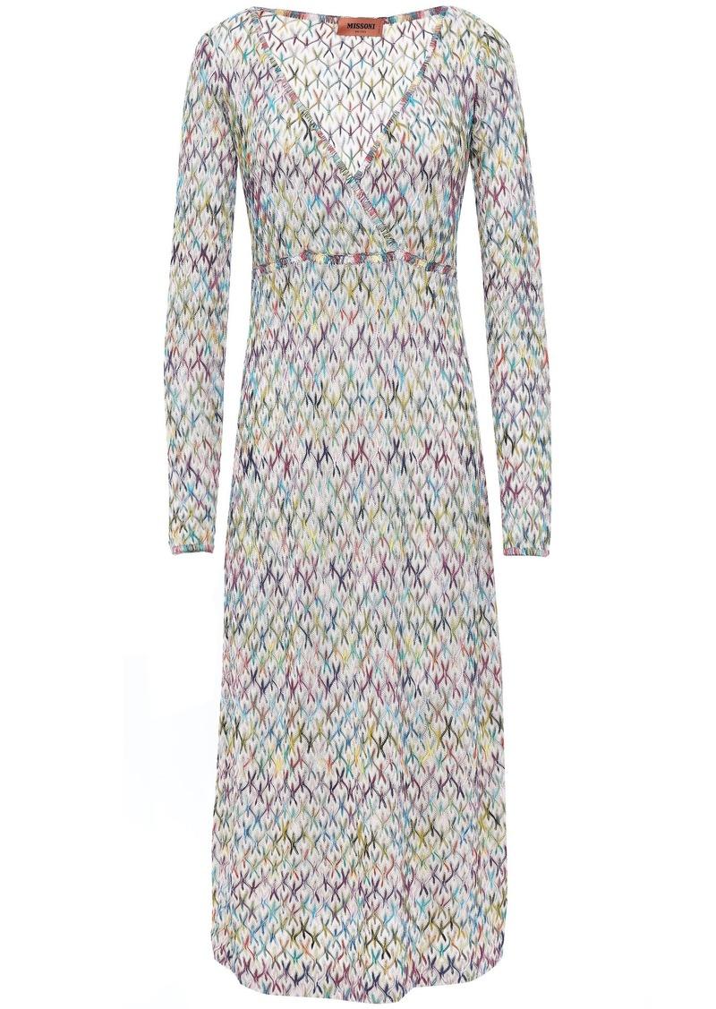 Missoni Woman Wrap-effect Crochet-knit Midi Dress Ecru