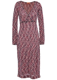 Missoni Woman Wrap-effect Crochet-knit Midi Dress Grape