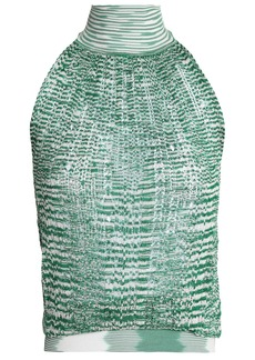 Missoni Woman Crochet-knit Turtleneck Top Green