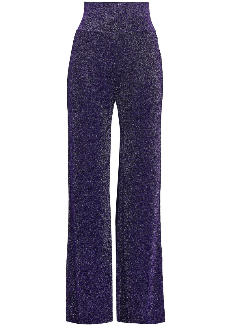 Missoni Woman Metallic Crochet-knit Wide-leg Pants Purple