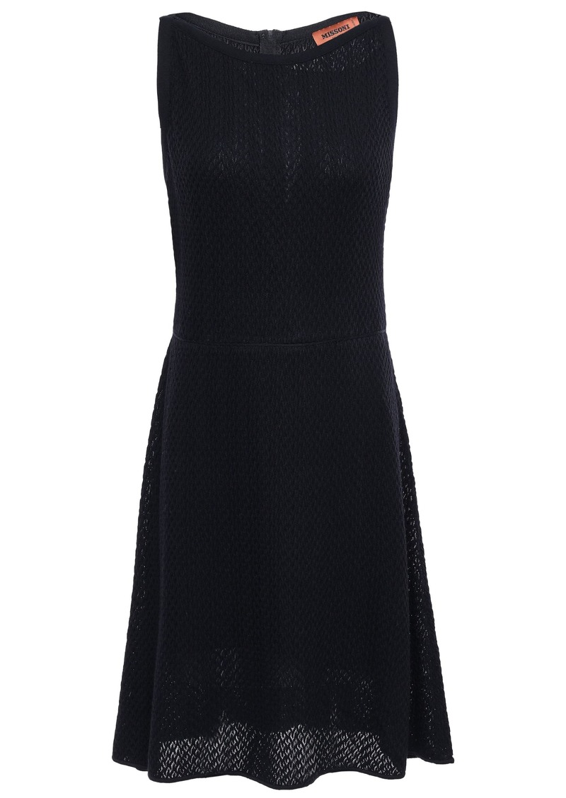Missoni Woman Crochet-knit Wool-blend Mini Dress Black