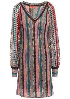 Missoni Woman Crochet-knit Wool-blend Mini Dress Gray