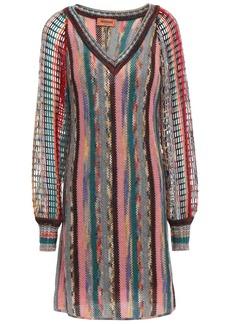 Missoni Woman Open And Crochet-knit Wool-blend Mini Dress Gray
