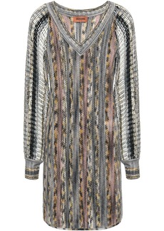 Missoni Woman Crochet-knit Wool-blend Mini Dress Multicolor