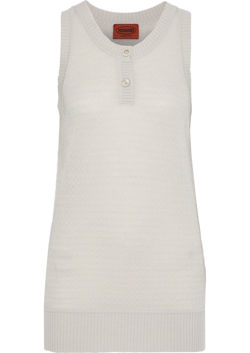 Missoni Woman Crochet-knit Wool-blend Tank Off-white