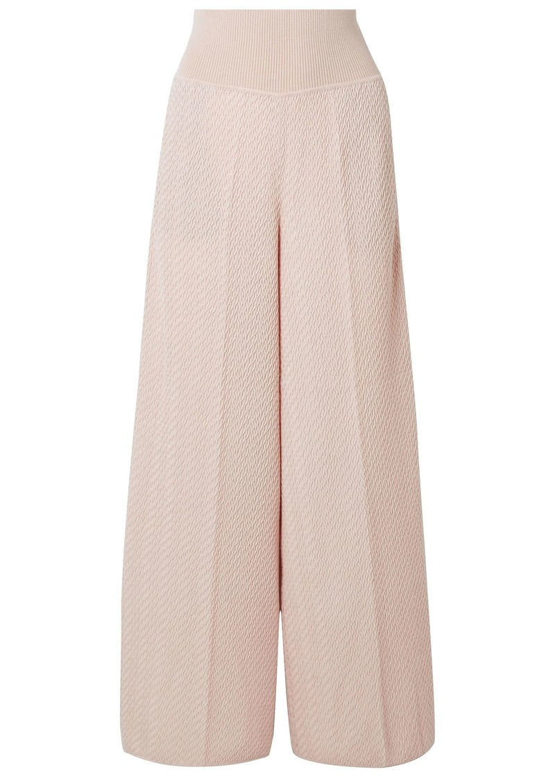 Missoni Woman Crochet-knit Wool-blend Wide-leg Pants Pastel Pink