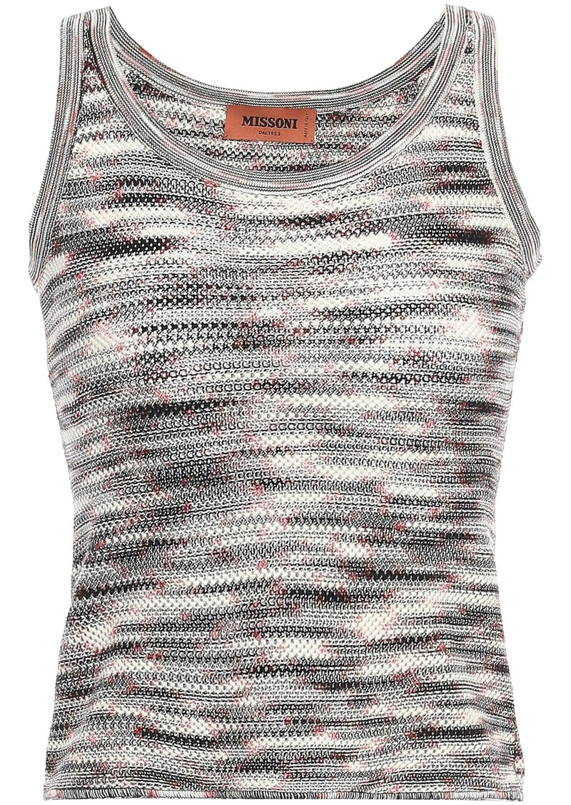 Missoni Woman Crochet-knit Wool Tank Black