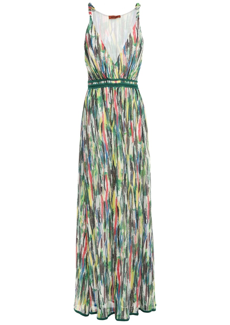 Missoni Woman Crochet-trimmed Printed Silk-georgette Maxi Dress Green
