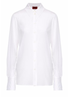 Missoni Woman Crochet-trimmed Silk-blend Shirt White