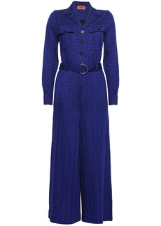 Missoni Woman Cropped Belted Crochet-knit Jumpsuit Royal Blue