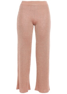 Missoni Woman Cropped Crochet-knit Linen-blend Flared Pants Antique Rose