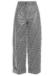 Missoni Woman Cropped Logo-print Crinkled Coated-voile Wide-leg Pants Black