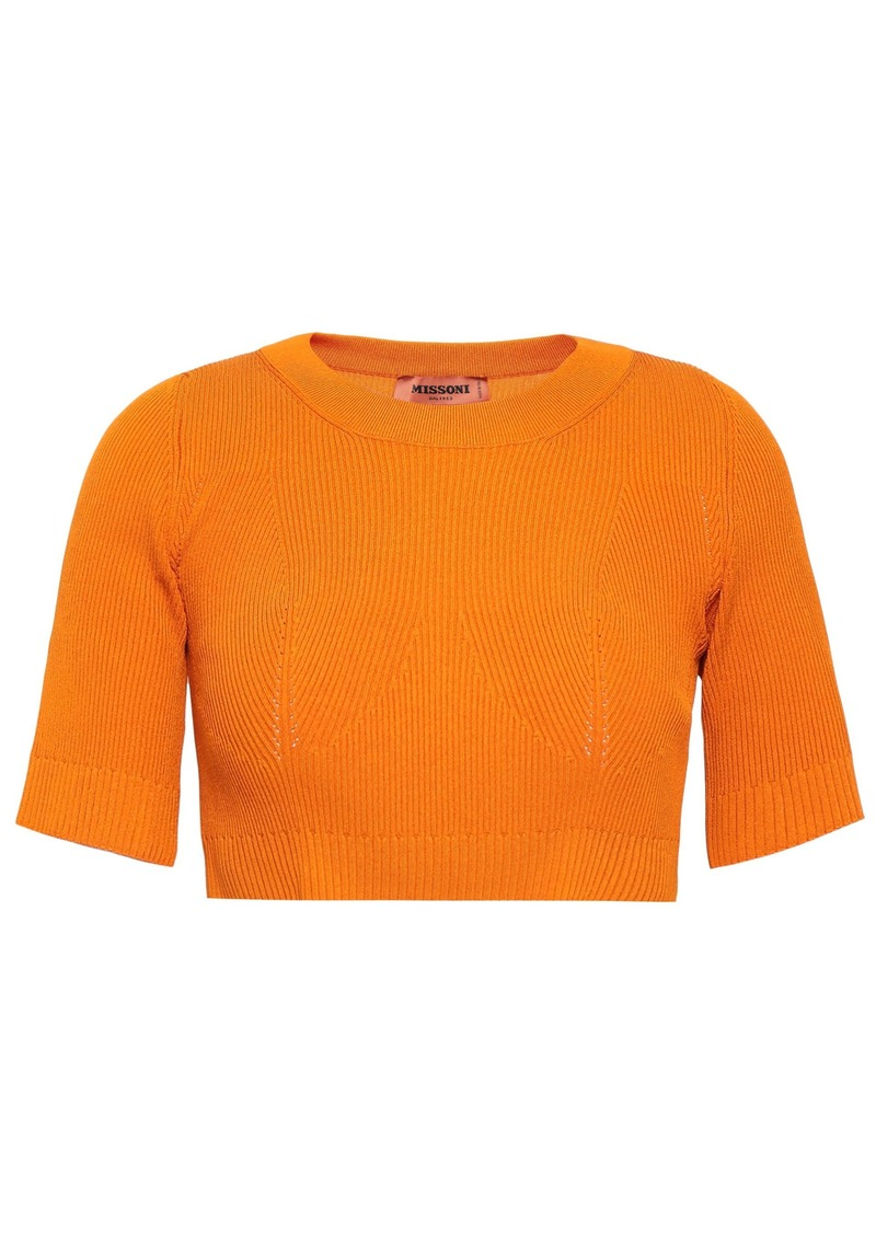 Missoni Woman Cropped Ribbed-knit Top Orange