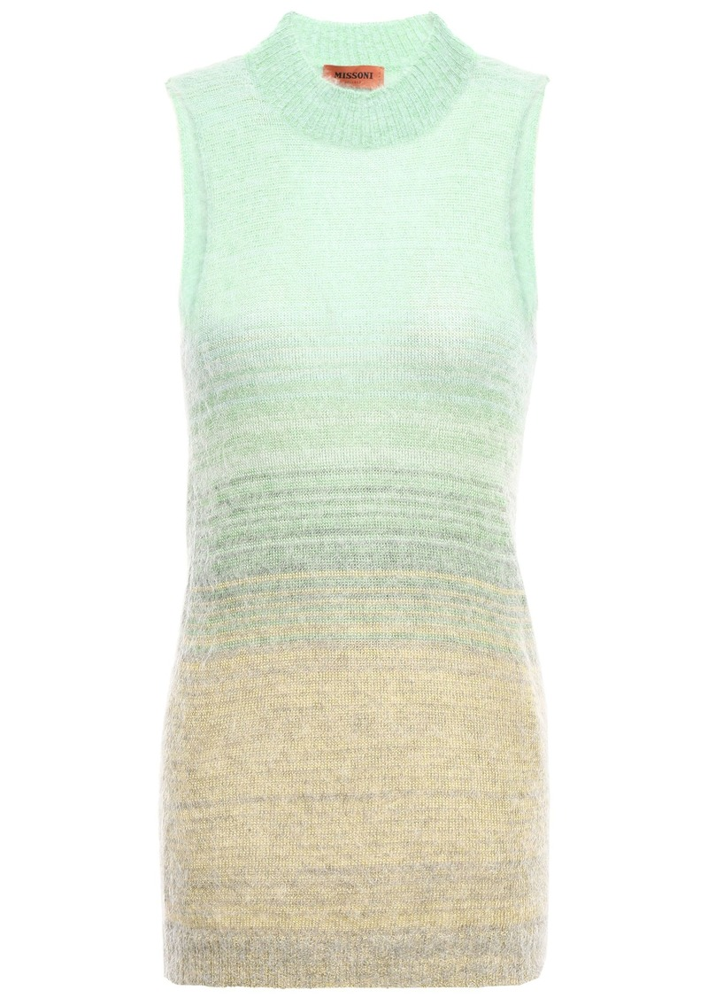 Missoni Woman Degradé Brushed Knitted Top Grey Green