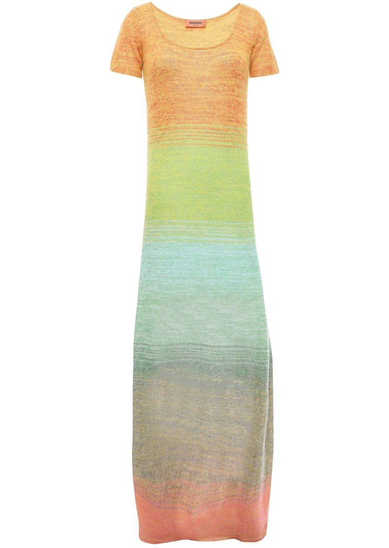 Missoni Woman Dégradé Crochet-knit Maxi Dress Lime Green