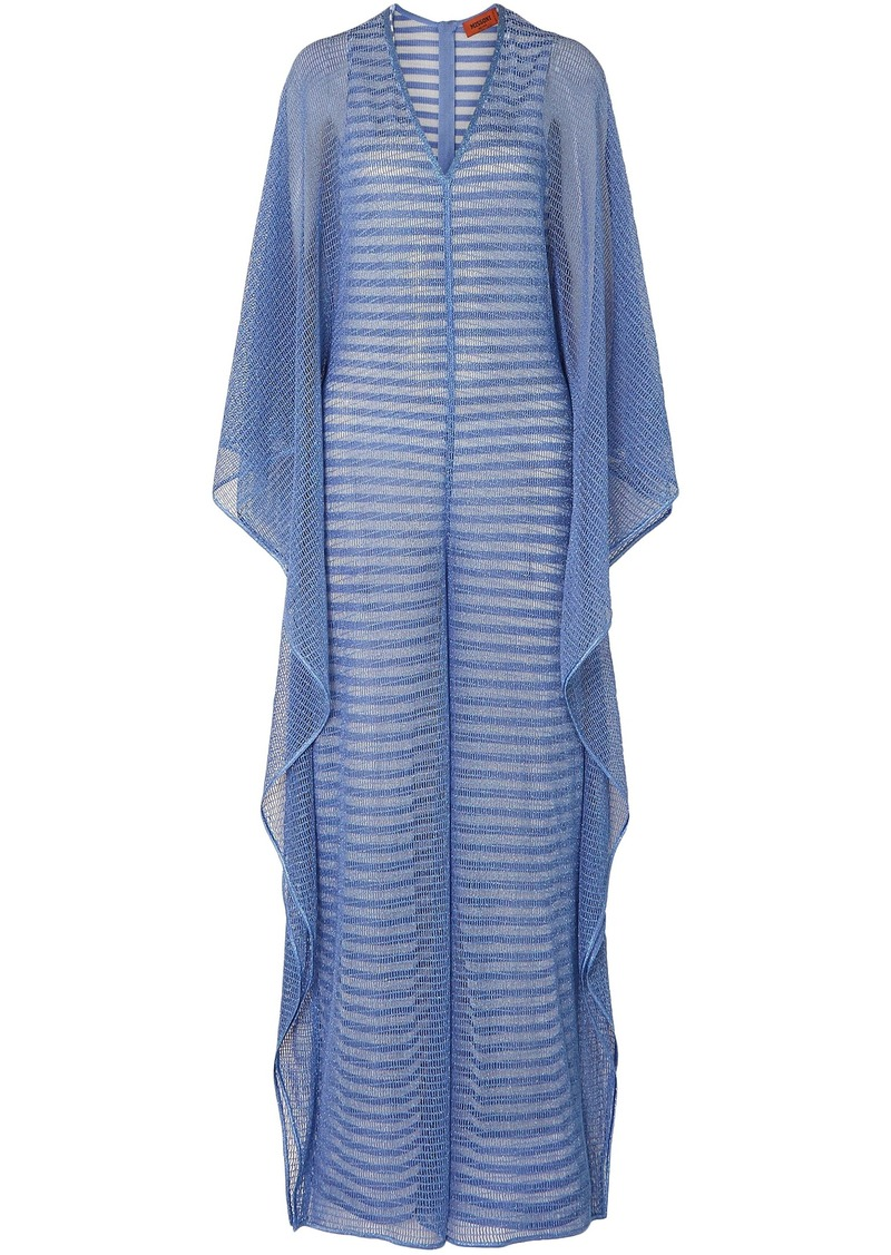 Missoni Woman Draped Layered Metallic Striped Open-knit Jumpsuit Light Blue