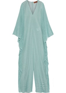 Missoni Woman Draped Metallic Crochet-knit Wide-leg Jumpsuit Mint
