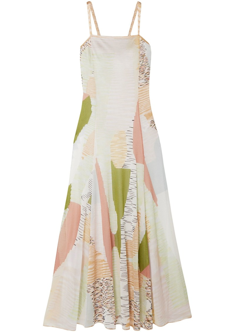 Missoni Woman Flared Intarsia-knit Maxi Dress Pastel Pink