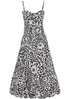 Missoni Woman Flared Ruched Printed Cotton-poplin Midi Dress White