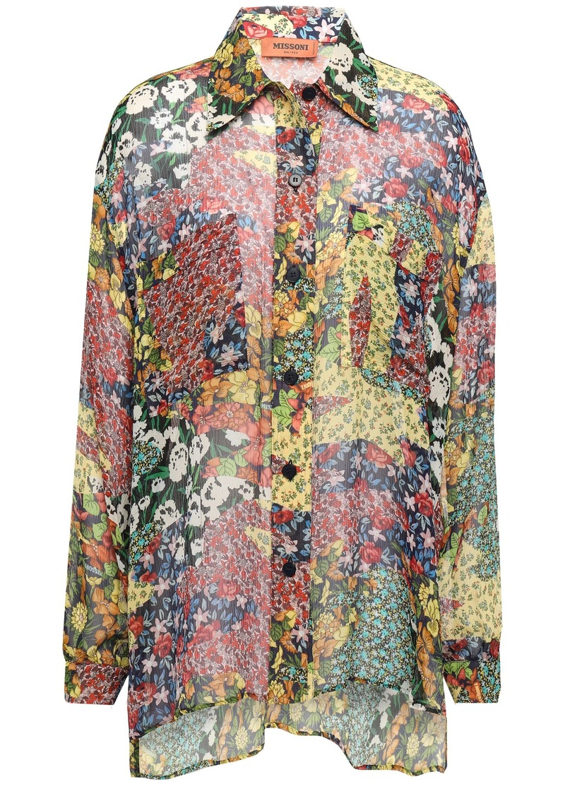 Missoni Woman Floral-print Silk-georgette Shirt Pastel Yellow