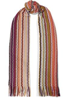 Missoni Woman Fringe-trimmed Crochet-knit Wool-blend Scarf Orange