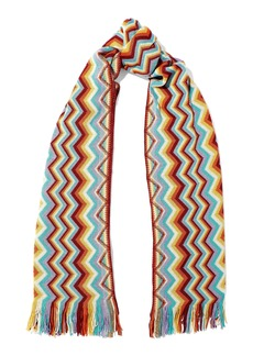 Missoni Woman Fringe-trimmed Crochet-knit Wool-blend Scarf Turquoise