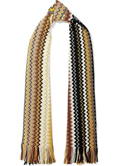 Missoni Woman Fringe-trimmed Crochet-knit Wool-blend Scarf Yellow
