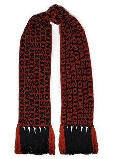 Missoni Woman Fringe-trimmed Wool-jacquard Scarf Brown