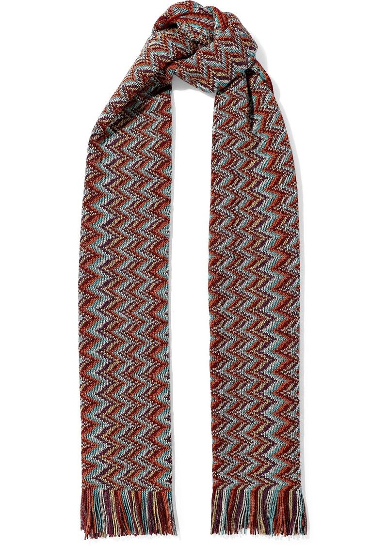 Missoni Woman Fringed Crochet-knit Wool-blend Scarf Brick